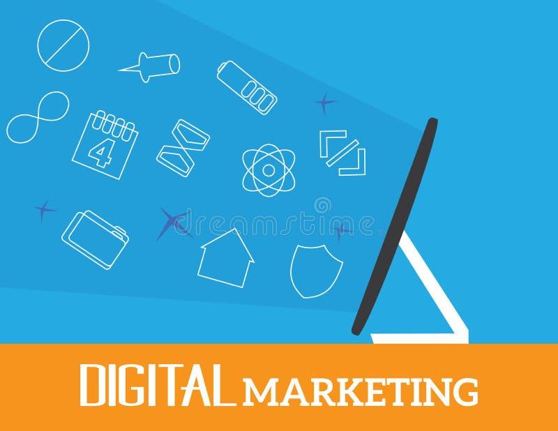 Digitaal marketing vectorconcept royalty-vrije illustratie