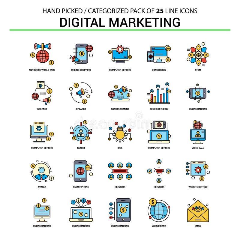 Digitaal Marketing Vlak Geplaatst Lijnpictogram - Bedrijfsconceptenpictogrammen DE royalty-vrije illustratie