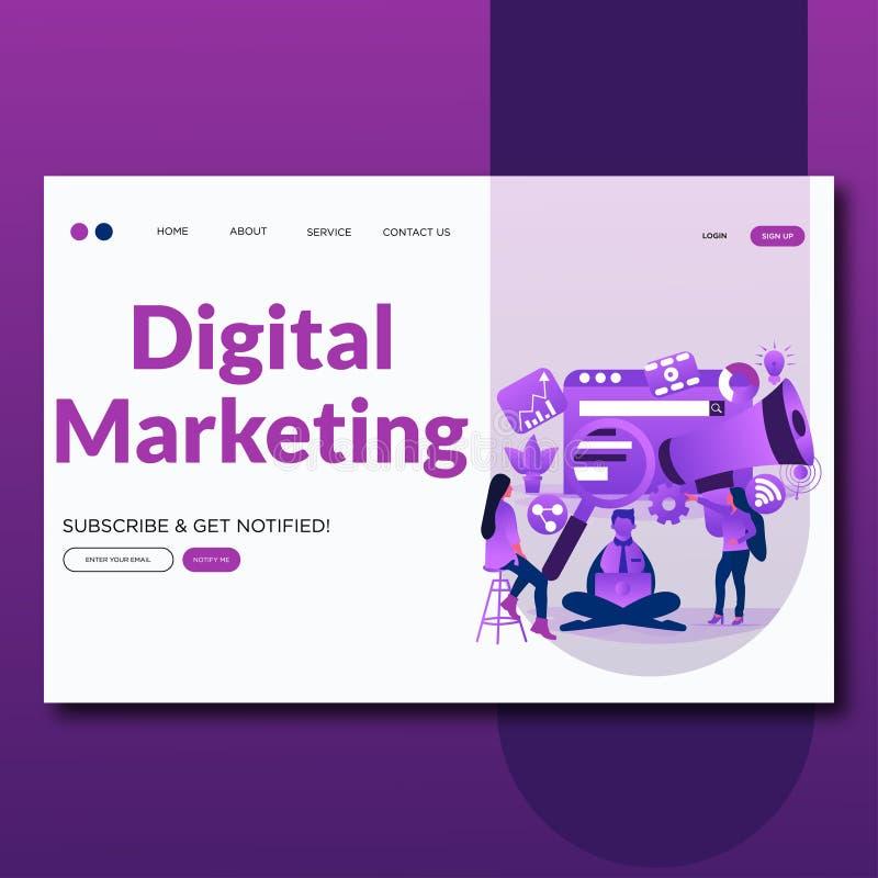 Digitaal Marketing Vlak vectorillustratielandingspagina Digitale marketing, digitaal technologie?nconcept royalty-vrije illustratie