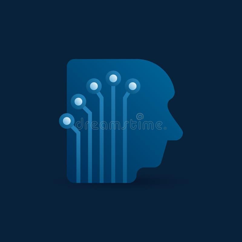 Digitaal menselijk hoofd met elektronisch netwerk vectorpictogram royalty-vrije illustratie