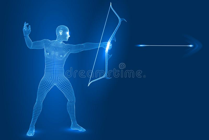 Digitaal mensencijfer als schutter, 3d vectorillustratie van de wireframestijl vector illustratie