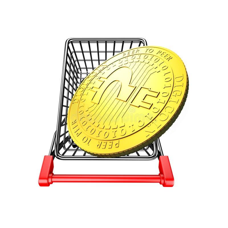 Digitaal muntstuk met vraagteken op boodschappenwagentje, 3D illustratio stock illustratie