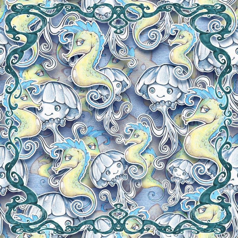Digitaal naadloos ontwerp van een mooie, elegante en gekrulde kaderelementen met overzeese schepselenachtergrond stock illustratie