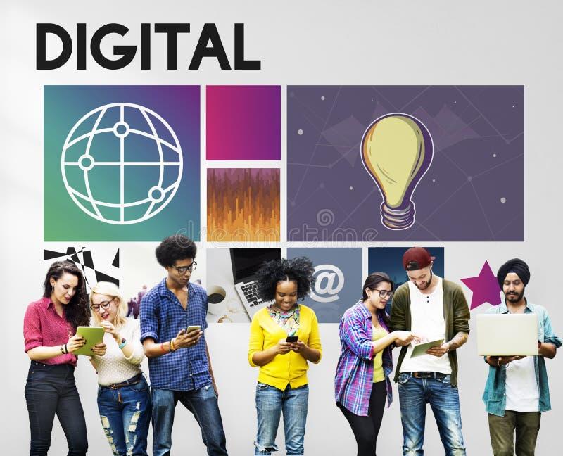 Digitaal Online de Diversiteitsconcept van de technologiejeugd royalty-vrije stock afbeeldingen