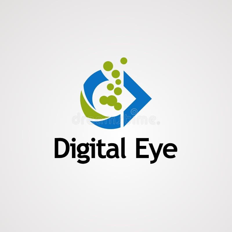 Digitaal oog met groene het embleemvector, pictogram, element, en malplaatje van de bellenpunt voor zaken royalty-vrije illustratie