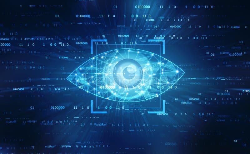 Digitaal oog, Veiligheidsconcept, cyber veiligheidsconcept stock afbeelding