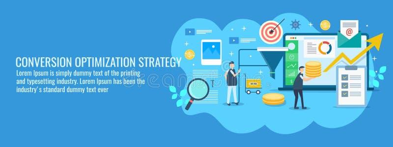 Digitaal op de markt brengend team die bij de conversieverhoudingoptimalisering werken, de verbetering van de verkooptrechter Vla vector illustratie