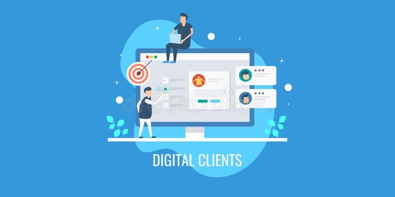 Digitaal op de markt brengend team die klantenprofiel analyseren, volgend klantengedrag, die nieuw perspectief op cliënten richte royalty-vrije illustratie