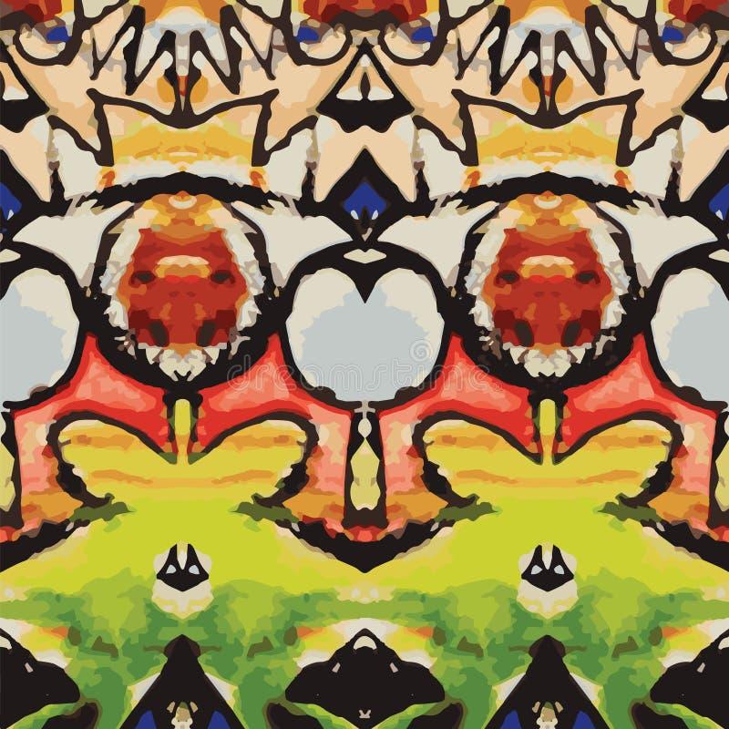 Digitaal remastered, manueel geschilderd waterverfdetail, die tot overladen, rustiek patroon leiden vector illustratie