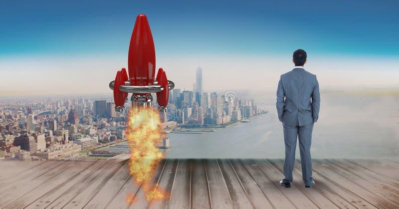Digitaal samengesteld beeld die van zakenman zich door raketlancering bevinden op pijler terwijl op zee het kijken en ci royalty-vrije stock afbeelding
