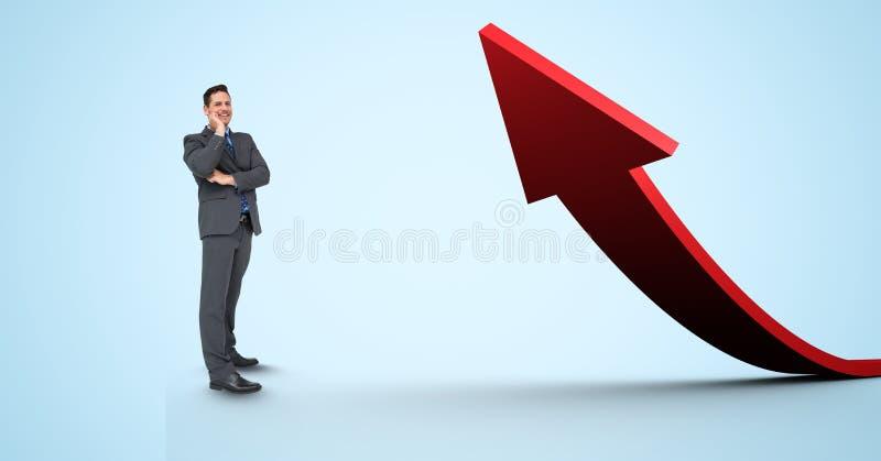 Digitaal samengesteld beeld die van zakenman zich door rode pijl bevinden royalty-vrije stock afbeelding