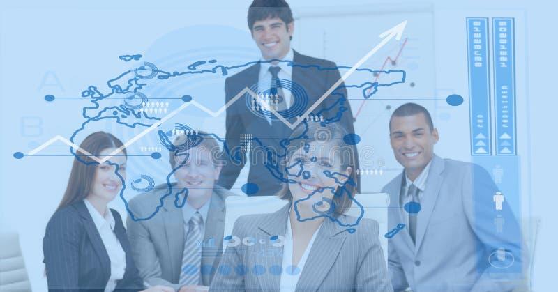 Digitaal samengesteld beeld van bedrijfsmensen met wereldkaart royalty-vrije stock afbeelding