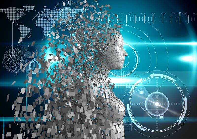Digitaal samengesteld beeld van 3d mens over gloeiende blauwe achtergrond royalty-vrije illustratie