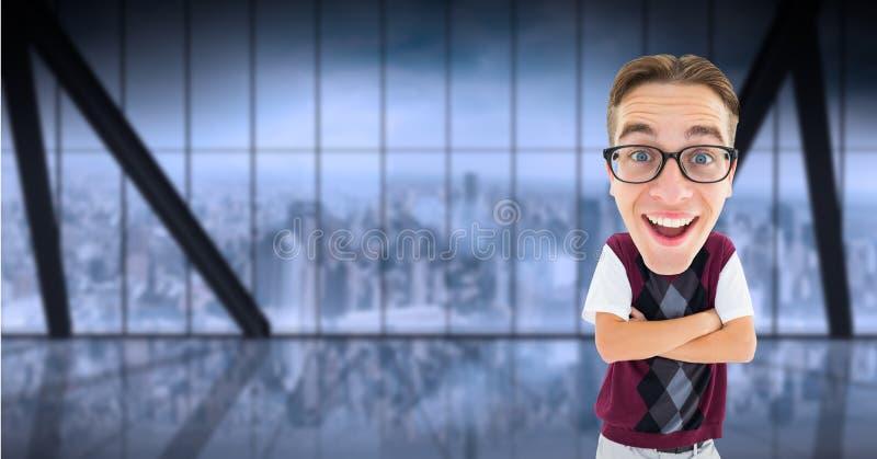 Digitaal samengesteld beeld van gelukkige gekruiste nerd bevindende wapens royalty-vrije stock foto