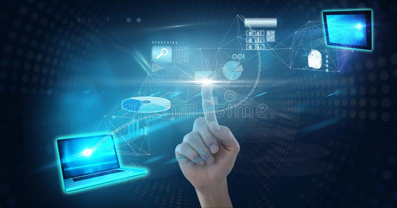 Digitaal samengesteld beeld van hand wat betreft het futuristische scherm royalty-vrije stock afbeeldingen