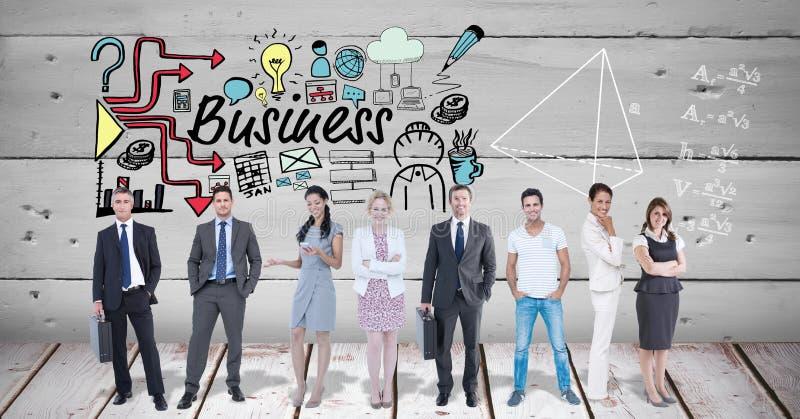 Digitaal samengesteld beeld van stafmedewerkers met bedrijfstekst en symbolen vector illustratie