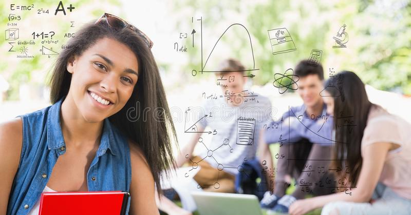 Digitaal samengesteld beeld van student met wiskundevergelijkingen en vrienden stock fotografie