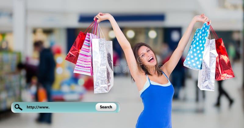 Digitaal samengesteld beeld van vrouwenholding het winkelen zakken en onderzoeksbar royalty-vrije stock afbeelding