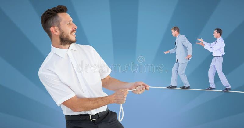 Digitaal samengesteld beeld van zakenlieden die die op kabel lopen door manager wordt gehouden royalty-vrije illustratie