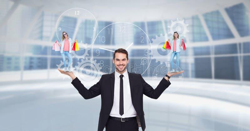 Digitaal samengesteld beeld van zakenman dragende vrouw met het winkelen zakken vector illustratie