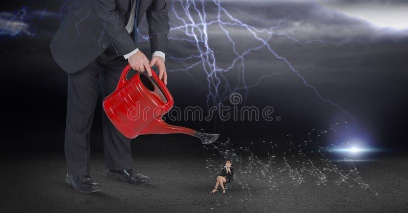 Digitaal samengesteld beeld van zakenman water gevende werknemer tijdens donderonweer royalty-vrije illustratie