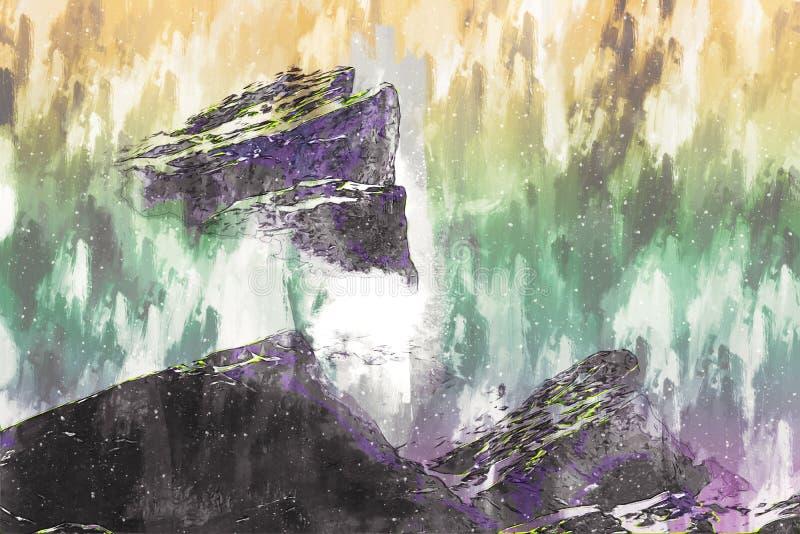 Digitaal schilderen van een rotsberg met sneeuw, illustratie van het landschap royalty-vrije illustratie
