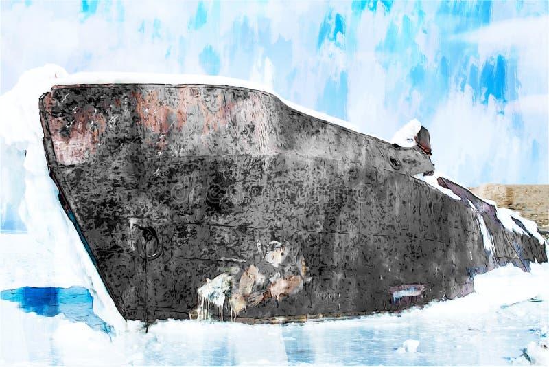Digitaal schilderen van het schip in het ijsmeer tegen de blauwe hemel in de winter royalty-vrije illustratie
