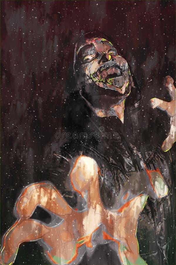 Digitaal schilderen van mannelijke zombie, man met bloedillustratie, halloween beeld-idee vector illustratie