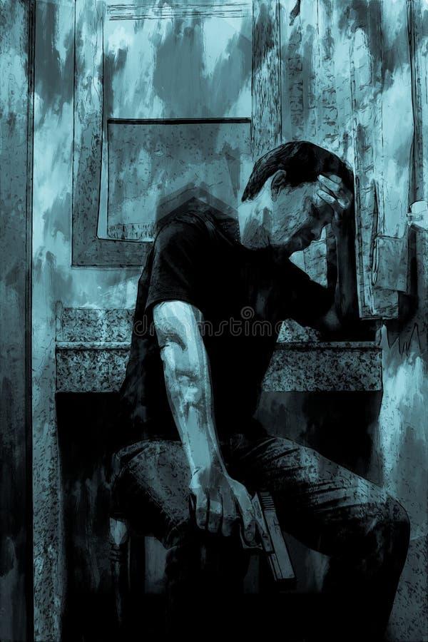 Digitaal schilderen van stress man met geweer, monotone afbeelding vector illustratie