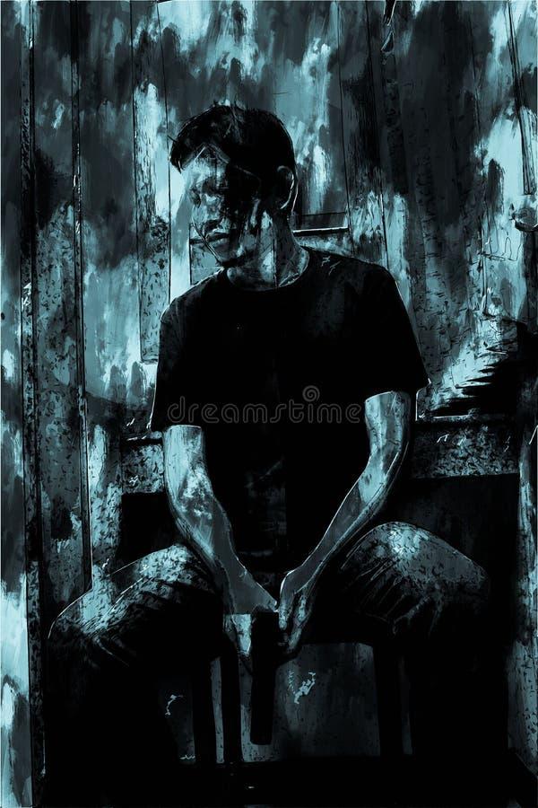 Digitaal schilderen van stress man met geweer, monotone afbeelding royalty-vrije illustratie