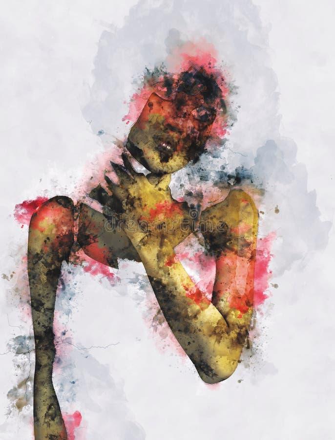 Digitaal schilderen van vrouwelijke zombie, vrouw met bloedillustratie, halloween beeld-idee stock illustratie