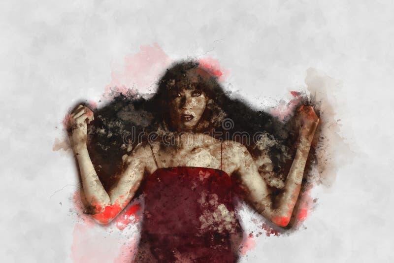 Digitaal schilderen van vrouwelijke zombie, vrouw met bloedillustratie, halloween beeld-idee royalty-vrije illustratie