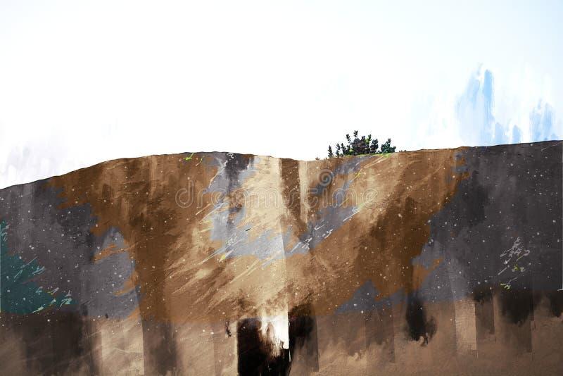 Digitaal schilderen van zandduin in woestijn met woestijnplanten royalty-vrije illustratie