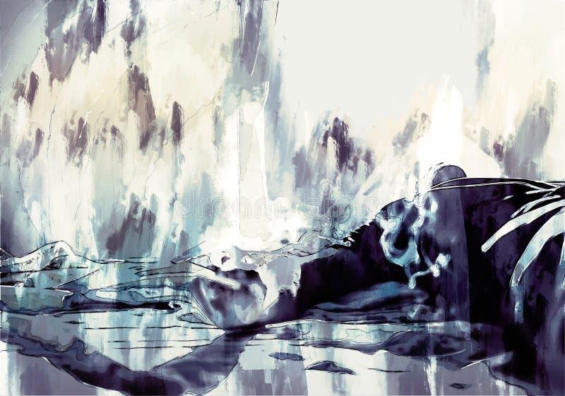 Digitaal schilderij van een trieste man die iets denkt royalty-vrije illustratie