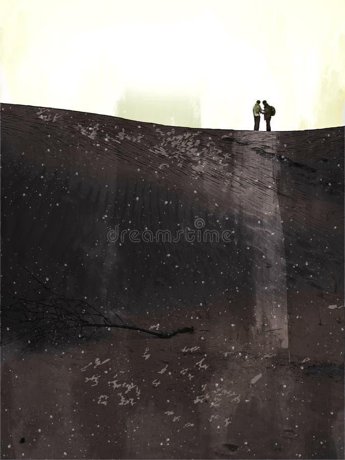 Digitaal schilderij van twee mannen die in de woestijn op een zandduin staan stock illustratie