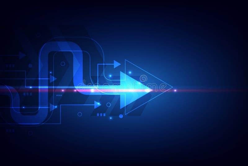 Digitaal signaalmededeling, de online technologie van Internet, de krings abstracte achtergrond van de pijllijn Vector illustrati stock illustratie