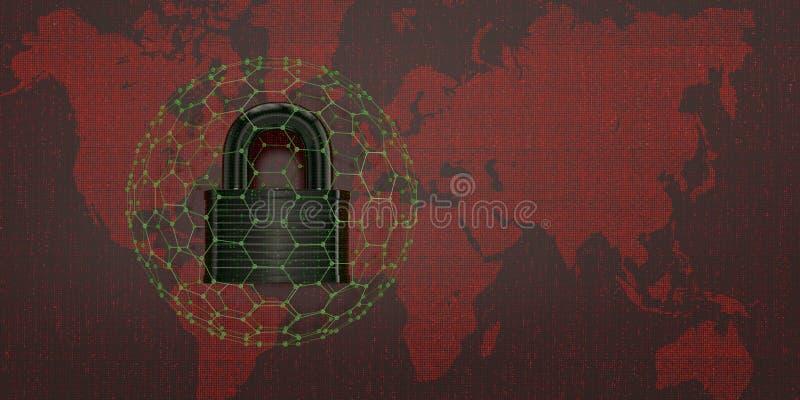 Digitaal slot op rode digitale wereldkaart 3D Illustratie vector illustratie