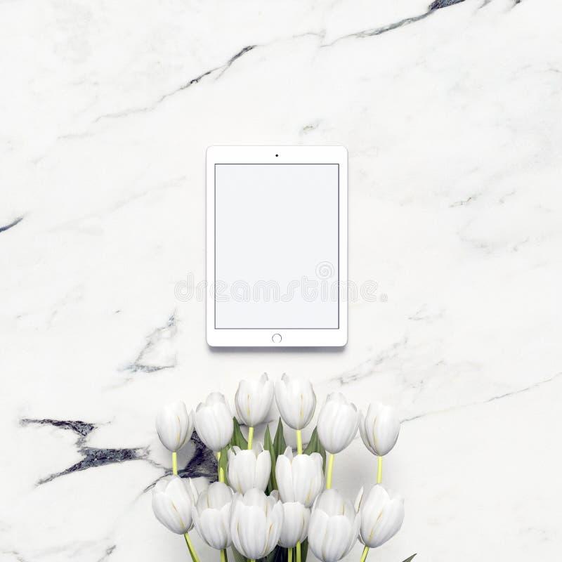 Digitaal Tabletmodel met Decoratieve Floowers en Marmeren Achtergrond vector illustratie