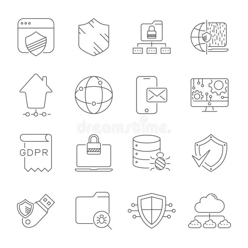 Digitaal technologie en voorzien van een netwerk Veiligheid, bescherming, innovatie in cyberspace Editablestreepjescode Eps 10 stock illustratie