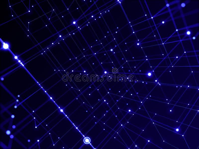Digitaal technologienetwerk die aan lijn abstracte achtergrond verbinden, blauw thema stock illustratie