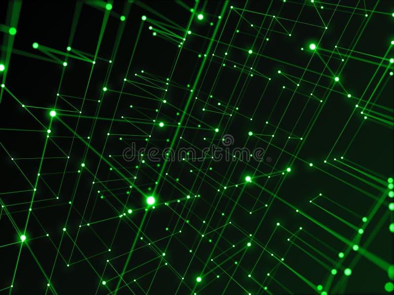 Digitaal technologienetwerk die aan lijn abstracte achtergrond verbinden, groen thema stock illustratie