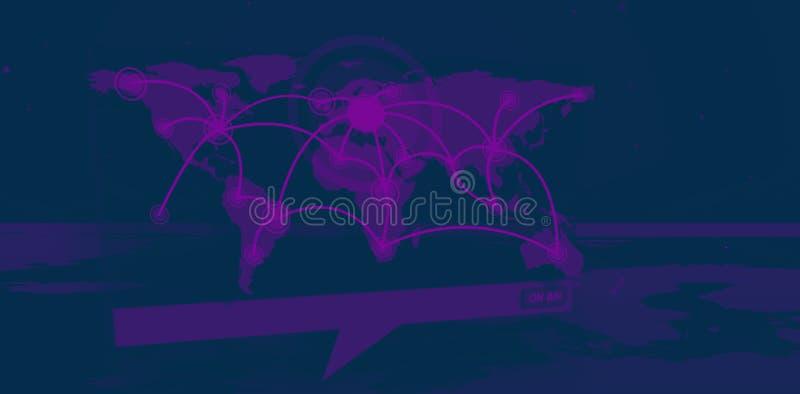Digitaal toespraakvakje die wereldverbindingen tonen die uit wereldkaart komen vector illustratie