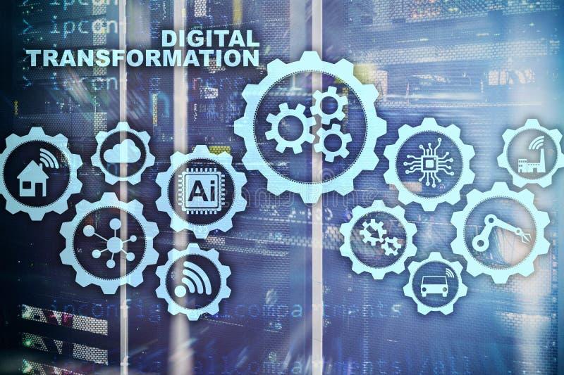 Digitaal Transformatieconcept digitalisering van technologie bedrijfsprocessen Datacenterachtergrond stock afbeeldingen