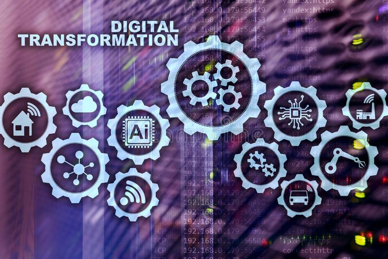 Digitaal Transformatieconcept digitalisering van technologie bedrijfsprocessen Datacenterachtergrond royalty-vrije illustratie