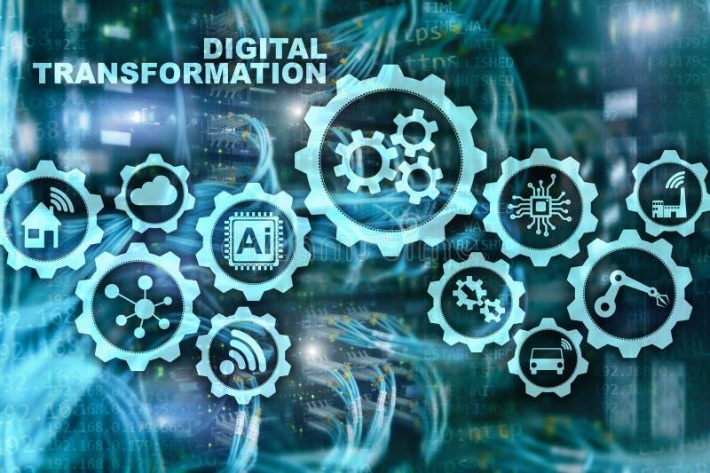 Digitaal Transformatieconcept digitalisering van technologie bedrijfsprocessen Datacenterachtergrond stock illustratie