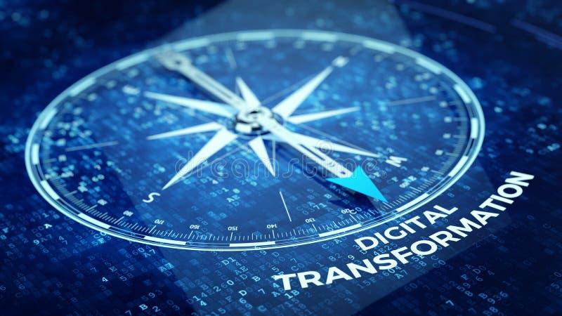 Digitaal Transformatieconcept - Kompasnaald die Digitaal Transformatiewoord richten vector illustratie