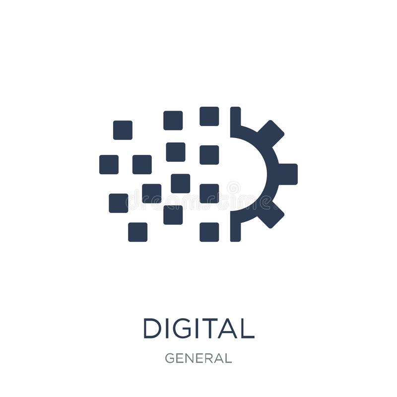 digitaal transformatiepictogram In vlakke vector digitale transfor royalty-vrije illustratie
