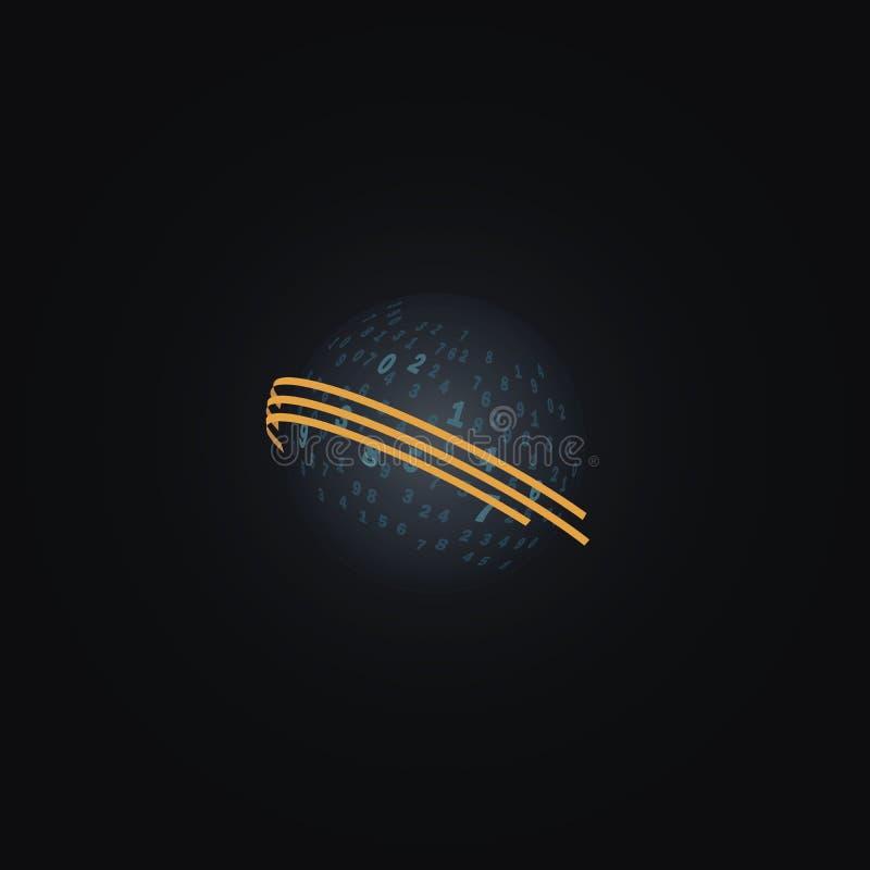 Digitaal transparant gebied Een bal met aantallen op een donkere achtergrond stock illustratie