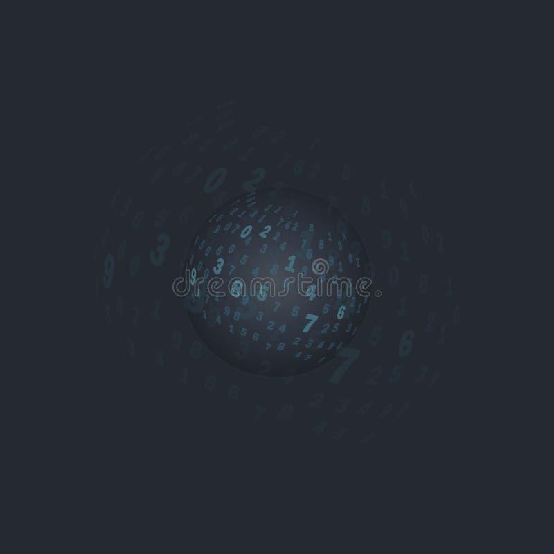 Digitaal transparant gebied Een bal met aantallen op een donkere achtergrond vector illustratie