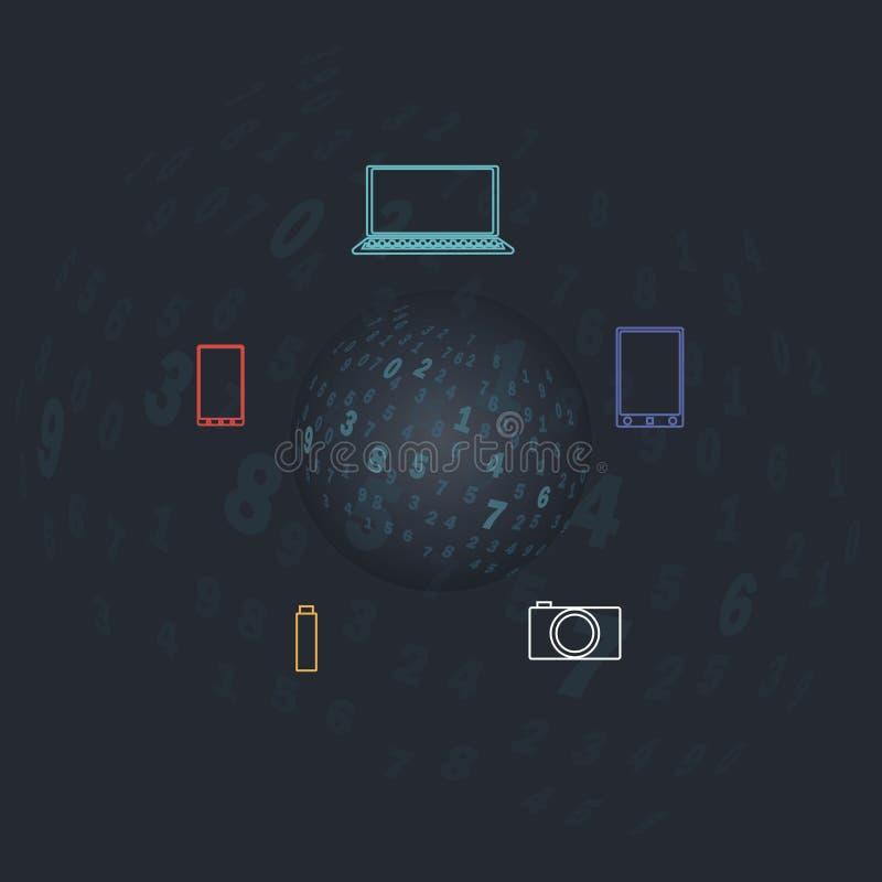 Digitaal transparant gebied Een bal met aantallen op een donkere achtergrond royalty-vrije illustratie